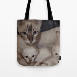 Luna the snow bengal cat with her kittens Tote Bag