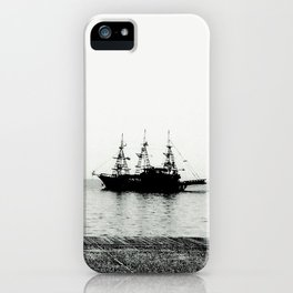 ships on a calm sea black and white iPhone Case