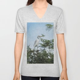 Cattle Egret In a Tree Unisex V-Neck
