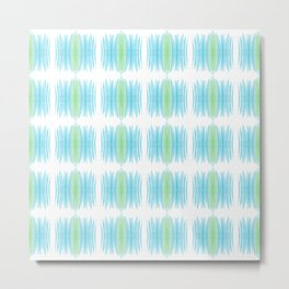 Retro 1970s Crayon Marks in Blue and Green Metal Print