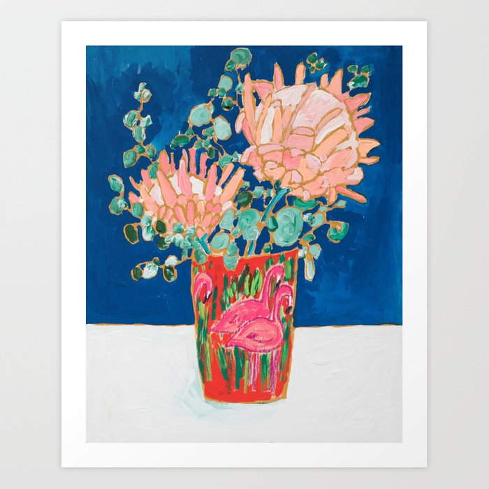 Protea in Enamel Flamingo Tumbler Painting Art Print