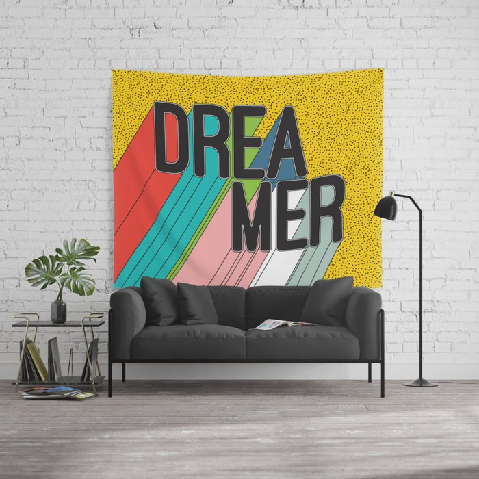 Dreamer Typography Color Poster Dream Imagine Wall Tapestry