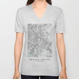 Orange County California Blue Water Street Map Unisex V-Neck