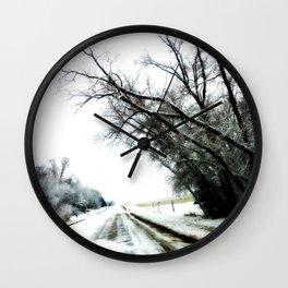 Winter Road  Wall Clock