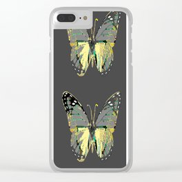 CHARCOAL GREY WESTERN STYLE BUTTERFLIES Clear iPhone Case