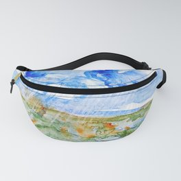 Walking Rain Clouds watercolor by CheyAnne Sexton Fanny Pack