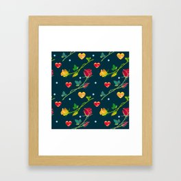 Seamless pattern with roses and hearts on a dark background Framed Art Print