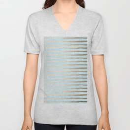 Abstract Stripes Gold Tropical Ocean Sea Turquoise Unisex V-Neck