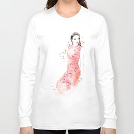Fashion illustration embroidered dress in coral Long Sleeve T-shirt