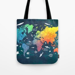 Ocean World Map color #map #worldmap Tote Bag
