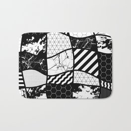Crazy Patchwork (Abstract, black and white, geometric designs) Bath Mat