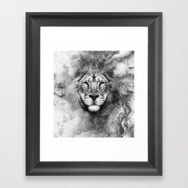 Lion Black and White Framed Art Print
