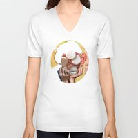 meat V-neck T-shirts featuring Meat Audrey by Marko Köppe