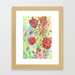 Ixora and Ferns - Watercolor Framed Art Print