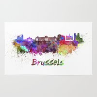 brussels Area & Throw Rugs featuring Brussels skyline in watercolor by Paulrommer