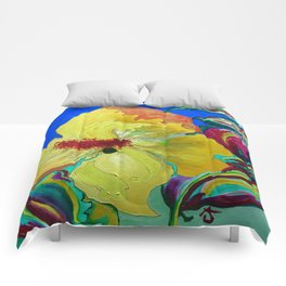 Birthday Acrylic Yellow Orange Hibiscus Flower Painting with Red and Green Leaves Comforters