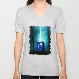 TARDIS BLUE EXPLODES Unisex V-Neck