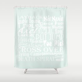 Pastel Blue Figure Skating Subway Style Typographic Design Shower Curtain