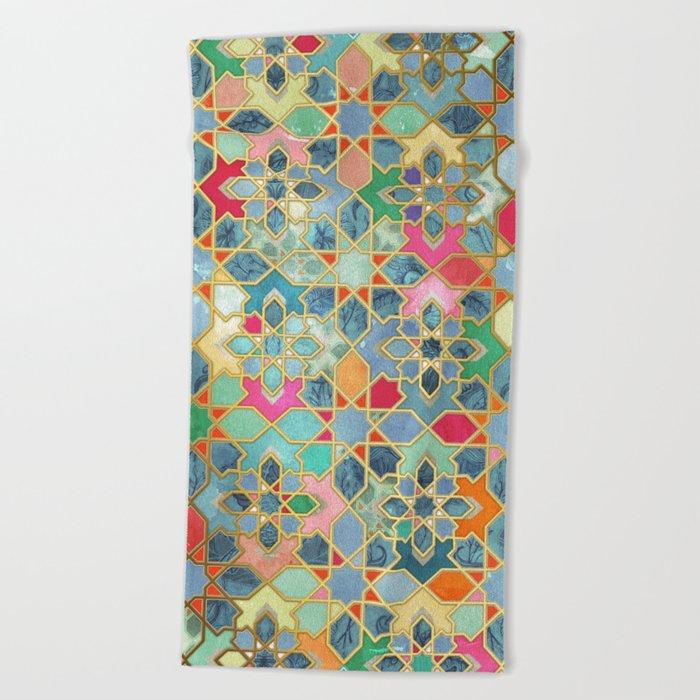 Gilt & Glory - Colorful Moroccan Mosaic Beach Towel
