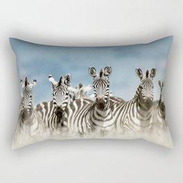 Herd of zebra in the wild Rectangular Pillow