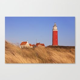 Lighthouse on Texel island in The Netherlands in morning light Canvas Print