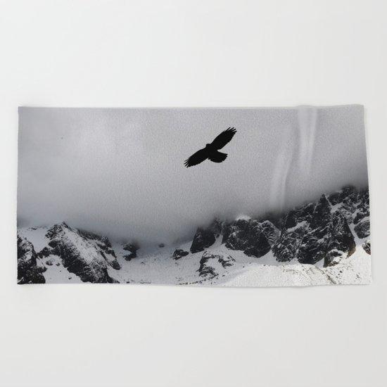 Black Over Grey Over White Beach Towel