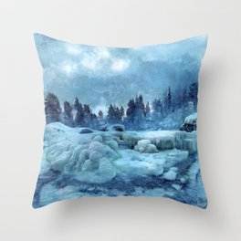 Blue Land Throw Pillow