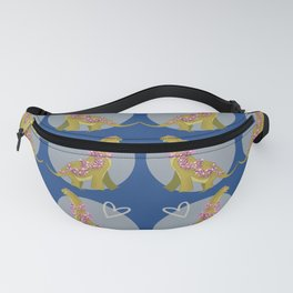 Blue and Green Floral Dino_L0v3theprocess Fanny Pack