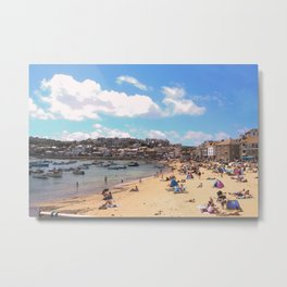 British Beach scene illustration, St Ives, English holiday resort Metal Print
