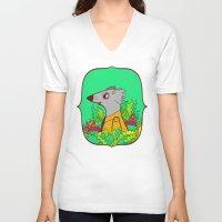 einstein V-neck T-shirts featuring Einstein by Popnyville
