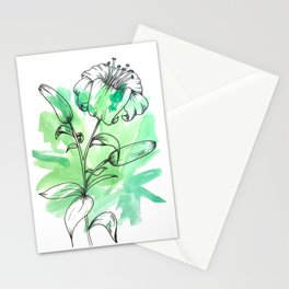 Lily Line Art & Watercolor Stationery Cards