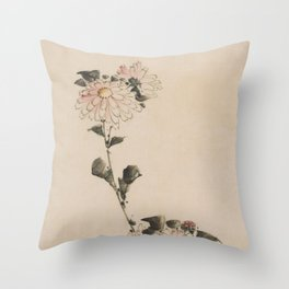 Pastel Pink Flower Blossoms on Long Stalk, Japanese painting Throw Pillow