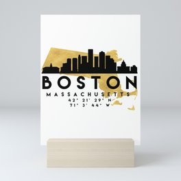 BOSTON MASSACHUSETTS SILHOUETTE SKYLINE MAP ART Mini Art Print