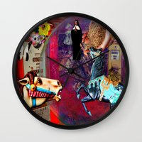 pocket fuel Wall Clocks featuring Fossil Fuel Cemetery by Joseph Mosley