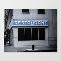 seinfeld Canvas Prints featuring The [Seinfeld] Diner by Nancy Falso