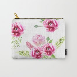 Wild Flowers Pink and Green Carry-All Pouch