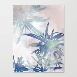 Navy Blue and Blush Pink Palm Leaf Watercolor Painting Canvas Print