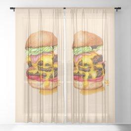 Juicy Cheeseburger Sheer Curtain