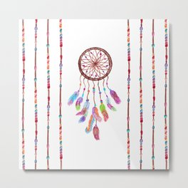 Hand Painted Watercolor Dreamcatcher Beads Feather Metal Print