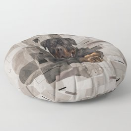 Rottweiler  - Metzgerhund Digital Art Floor Pillow