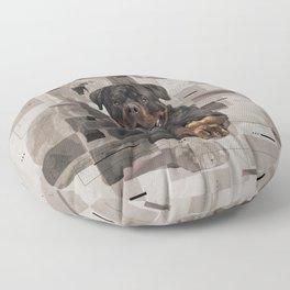 Rottweiler  - Metzgerhund Digital Art Floor Pillow