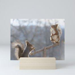 squirrels at playground Mini Art Print