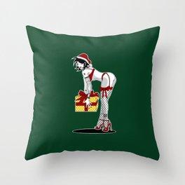 Green Christmas Pinup Throw Pillow