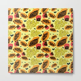 Yellow papaya grape persimmon Metal Print
