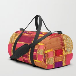 """Exotic fabric, ethnic and bohemian style, patches"" Duffle Bag"
