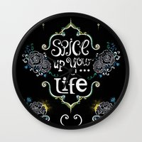 spice Wall Clocks featuring Spice by Melinda Francis