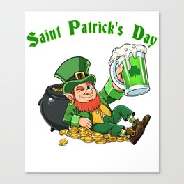 St. Patrick's Day T Shirt Pot of Gold - green Beer Canvas Print