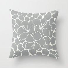 Hibiscus Animal: Gray Throw Pillow