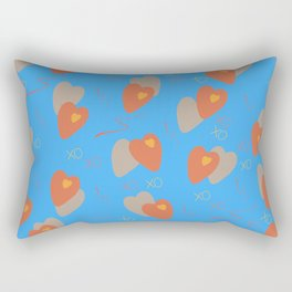 Small and large hearts on a blue background. Seamless pattern.  Rectangular Pillow