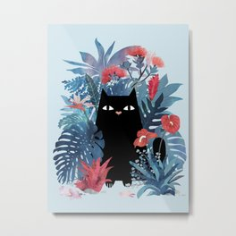 Popoki in Blue Metal Print